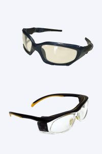Lead lined radiation protective glasses